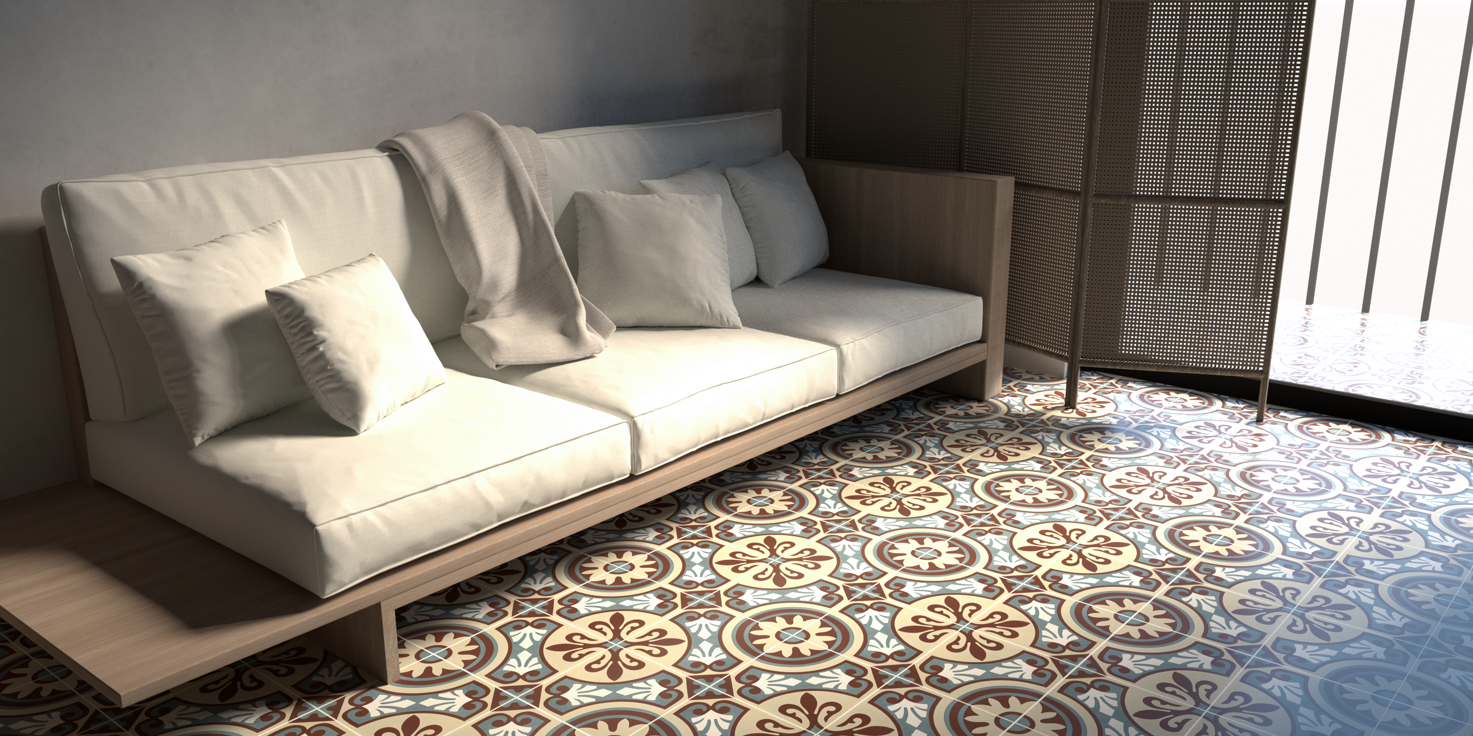 Special interior accents with decorative encaustic cement tiles