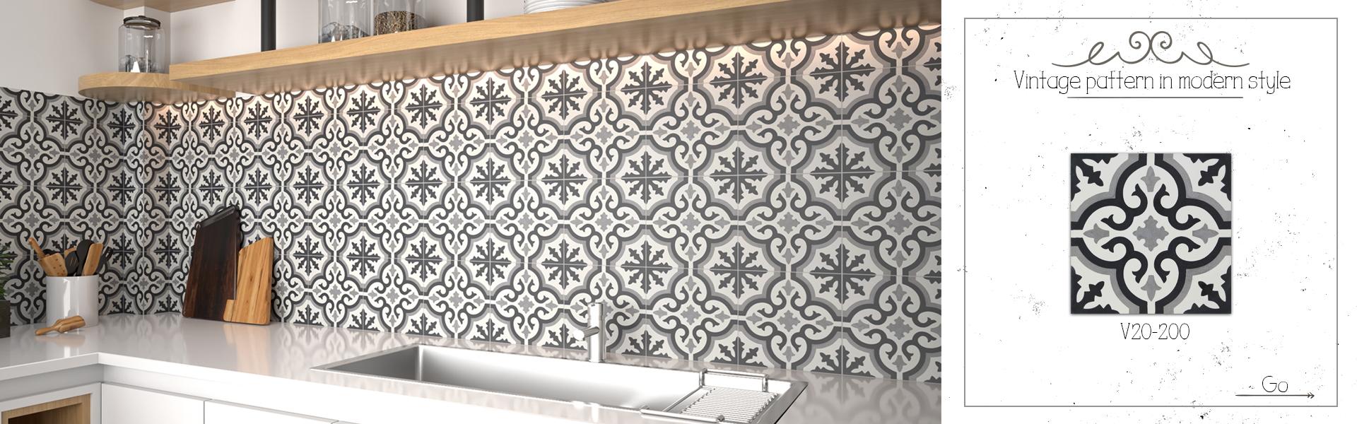 V20-200 Cement tile - Vintage pattern in modern style