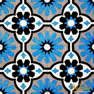 A BLUE COLOR ON TERRAZZO CEMENT TILES