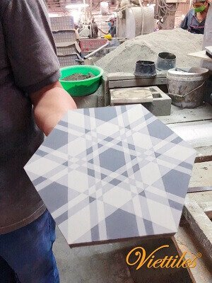 The beautifull hexagon cement tile
