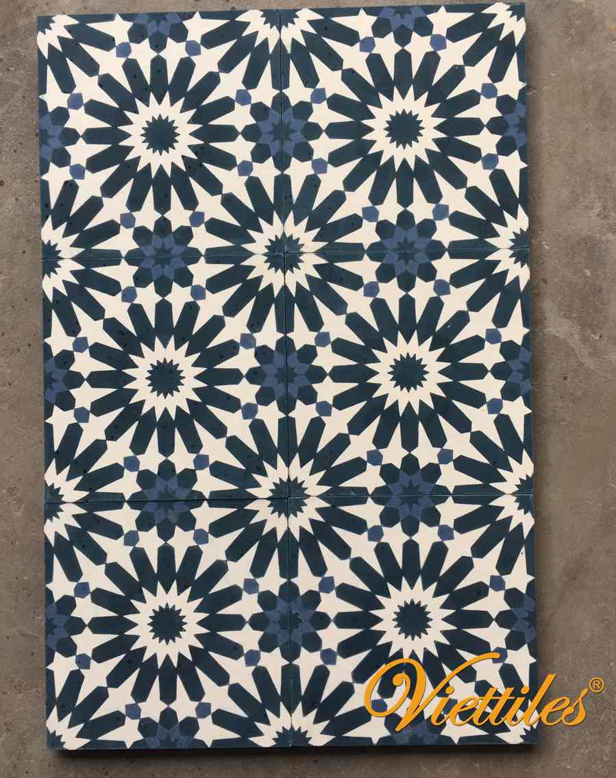 The blue pattern in Viettiles cement tiles