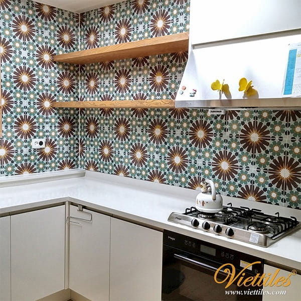 The kitchen designs with beautiful cement tiles