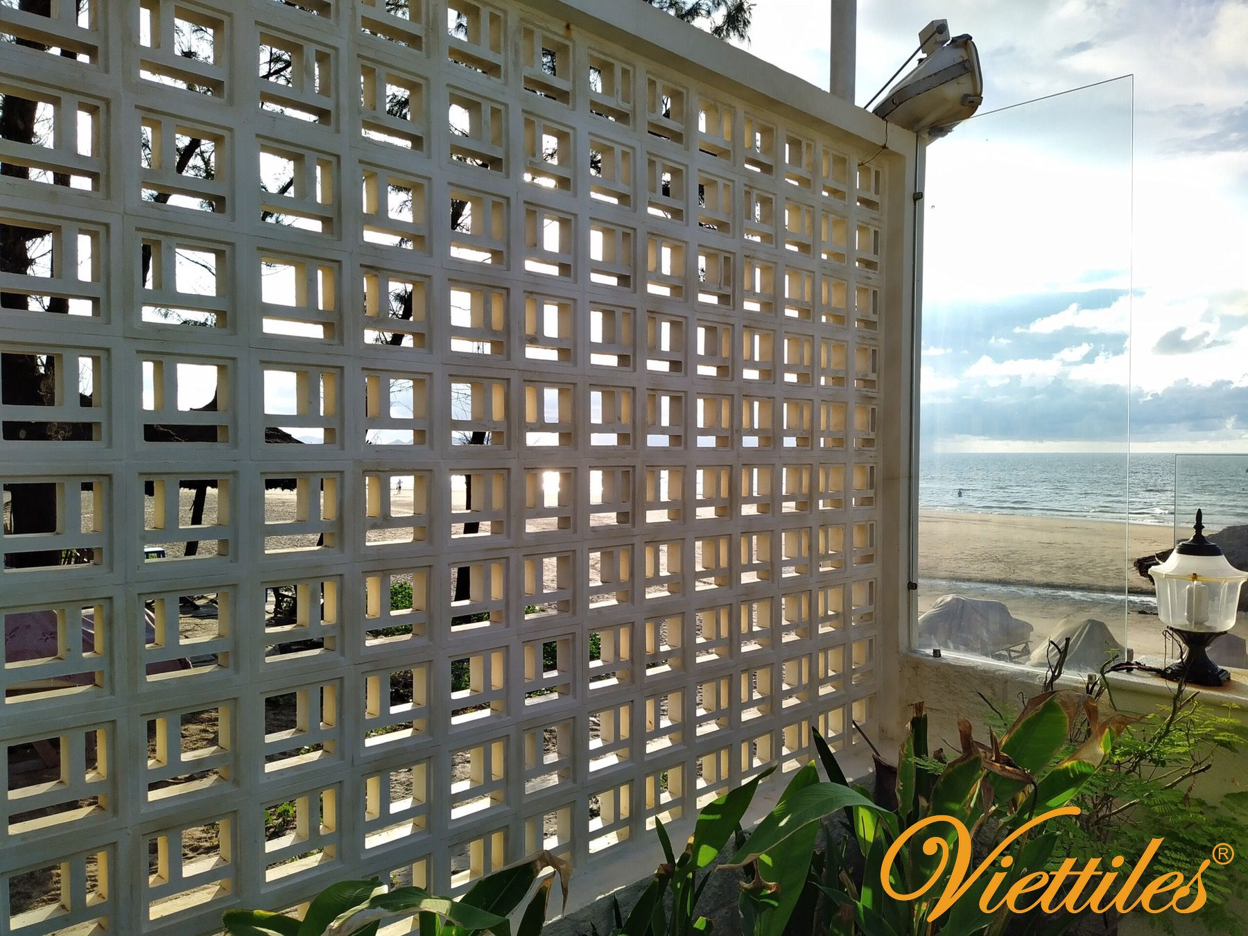 Design of beach landscape with breeze block