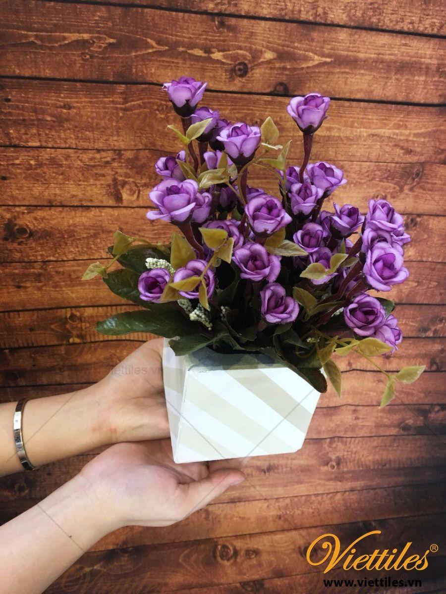 chậu hoa làm bằng gạch bông Viettiles/ flowerpot made form Viettiles cement tiles.