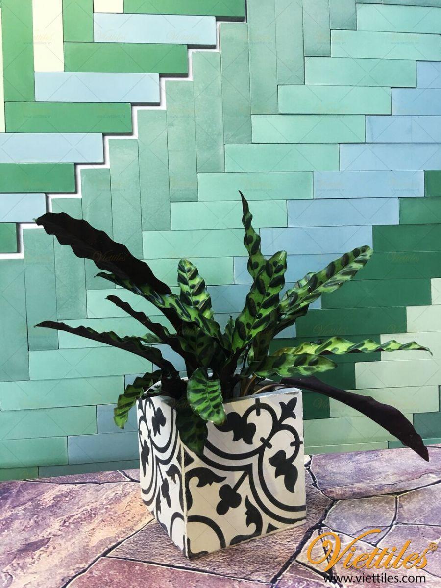 flowerpot made from Viettiles cement tiles / chậu hoa được làm từ gạch bông Việt Tiles