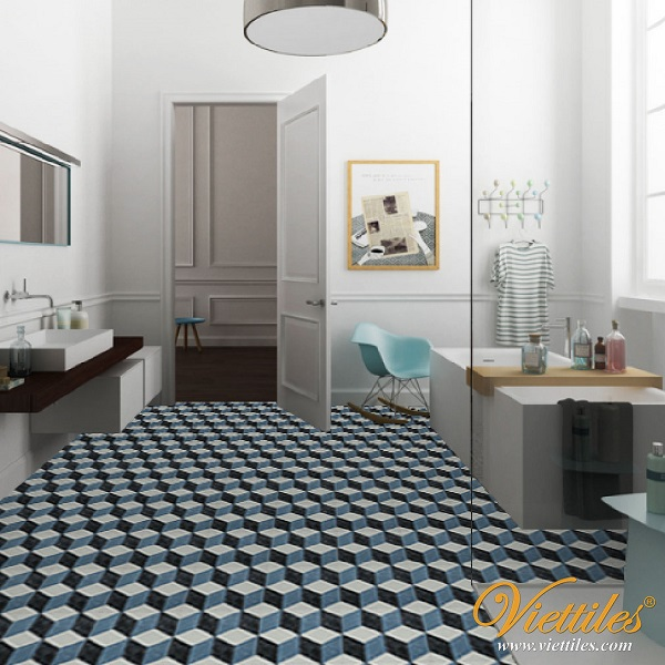 CUBIC grinding stone tiles with bathroom floor, cool and clean