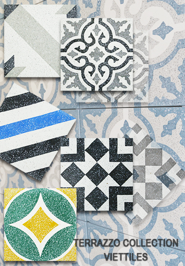 The collection of Viettiles encaustic terrazzo tiles