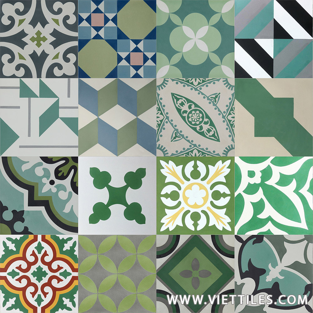 PatchWork Green Cement tile