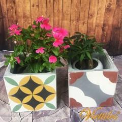 Cement tile flower pot 15x15